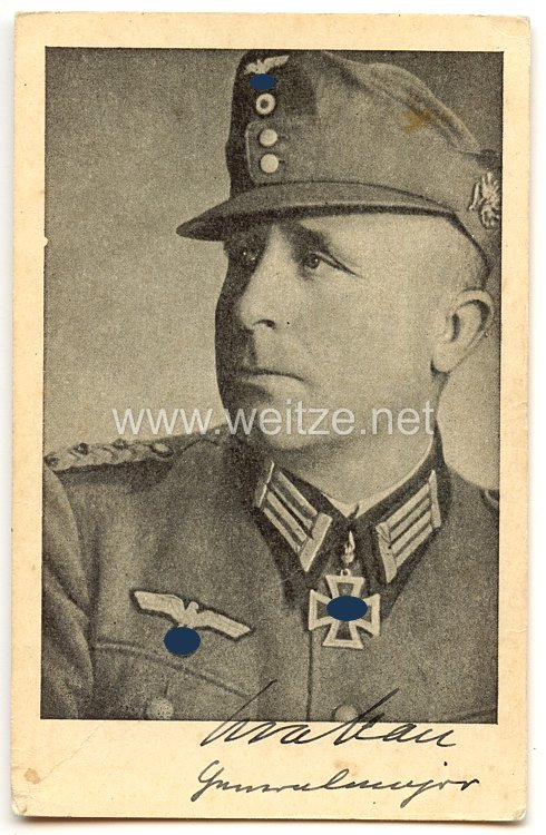 Heer - Originalunterschrift von Ritterkreuzträger Generalmajor August Krakau, Kommandeur der 7. Gebirgs-Division