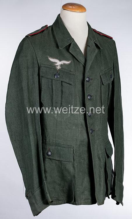 Luftwaffen-Felddivision Drillich Feldbluse für Mannschaften der Artillerie