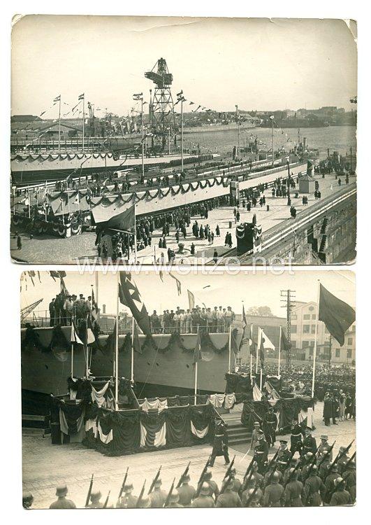 Reichsmarine Fotos, Stapellauf von Kriegsschiffen