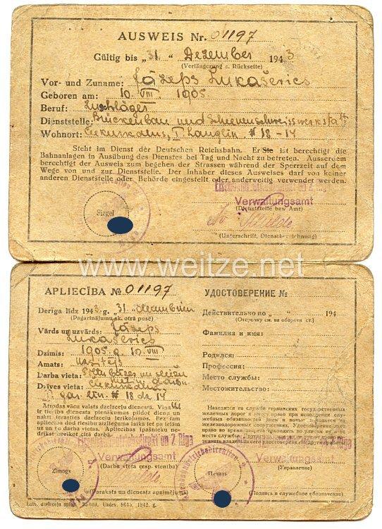 III. Reich / Lettland - Eisenbahndirektion Riga - Ausweis für einen Mann des Jahrgangs 1905 in der Deutschen Reichsbahn