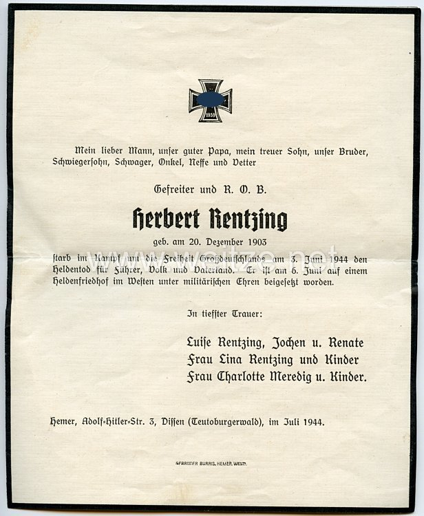 Heer - Trauerblatt zum Heldentod eines Gefreiten und R.O.B. der am 3. Juni 1944 gefallen ist