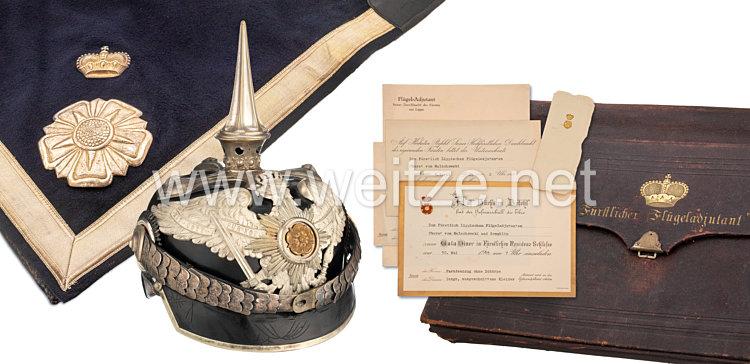 Lippe-Detmold Pickelhaube, Schabracke und Depechentasche aus dem Besitz des Flügeladjutanten Oberst von Malachowski
