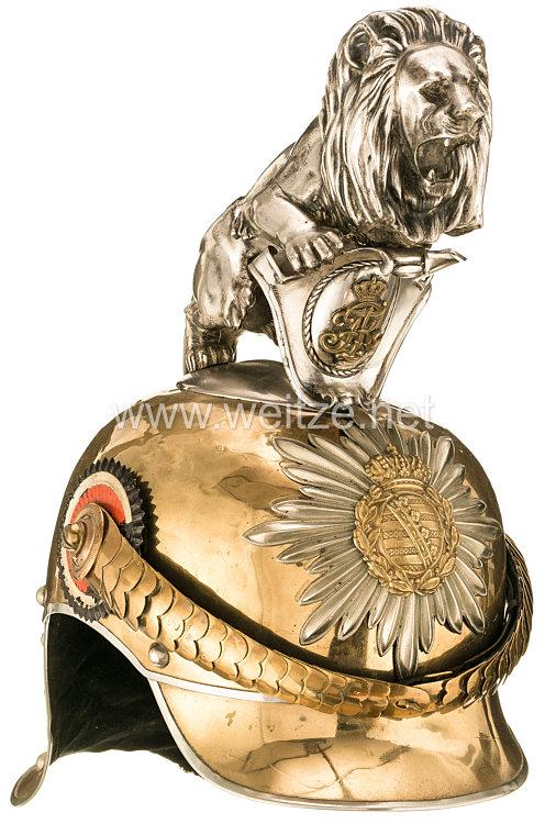 Sachsen Helm für einen Fähnrich im Garde-Reiter-Regiment