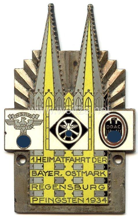 """NSKK / DDAC - nichttragbare Teilnehmerplakette - """" 1. Heimatfahrt der Bayer. Ostmark Regensburg Pfingsten 1934 """""""