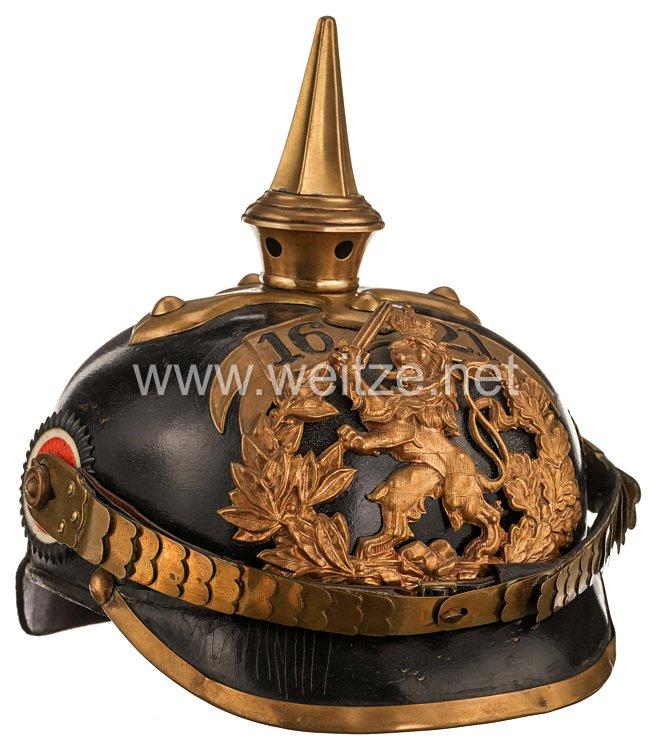 """Hessen Pickelhaube des Einjährig Freiwilligen """"Trutschler"""" in der 6. Kompanie desLeibgarde-Infanterie-Regiments (1. Großherzoglich Hessisches) Nr. 115"""