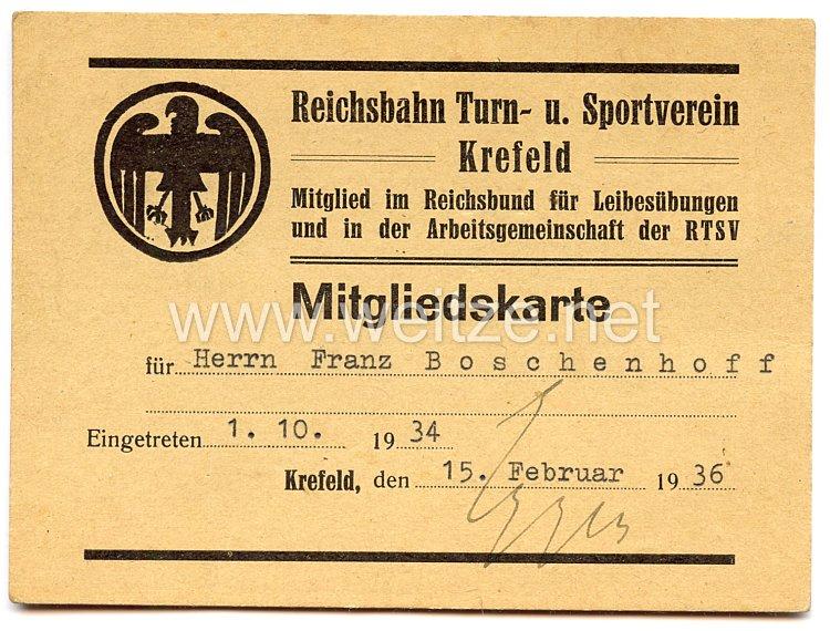 III. Reich - Reichsbahn Turn- und Sportverein Krefeld - Mitgliedskarte
