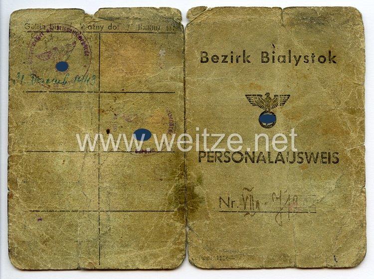 III. Reich / Besetzte Ostgebiete - Bezirk Bialystok - Personalausweis für eine Frau des Jahrgangs 1922