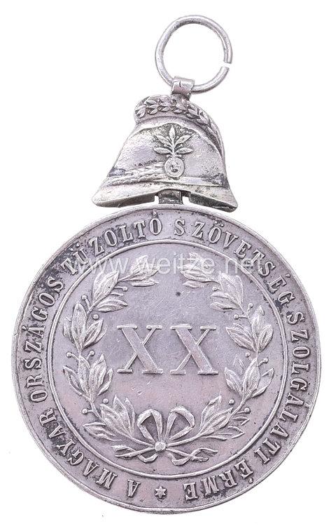 Ungarische Feuerwehr-Dienstmedaille 1884 in der Form ab 1902, 2. Version 4. Klasse mit Überhöhung (Helm)