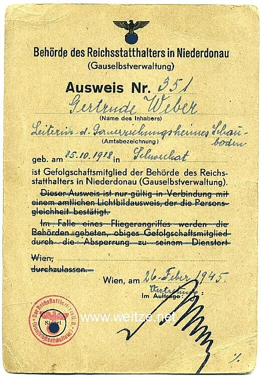 Behörde des Reichsstatthalters in Niederdonau ( Gauselbstverwaltung ) - Ausweis