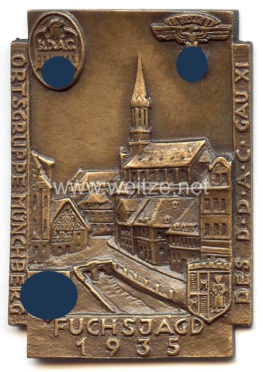 """NSKK / DDAC - nichttragbare Teilnehmerplakette - """" Ortsgruppe Münchberg Fuchsjagd des DDAC Gau XI 1935 """""""