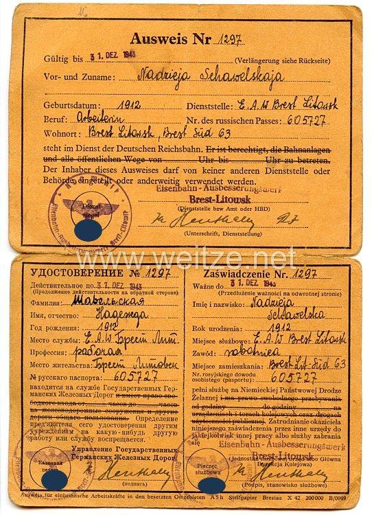 III. Reich / Weißrussland - Eisenbahndirektion-Ausbesserungswerk Brest-Litowsk - Ausweis für eine Frau des Jahrgangs 1912 in der Deutschen Reichsbahn