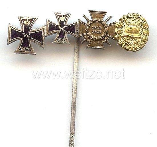 Miniaturspange eines Frontkämpfers im 1. Weltkrieg - 4 Auszeichnungen