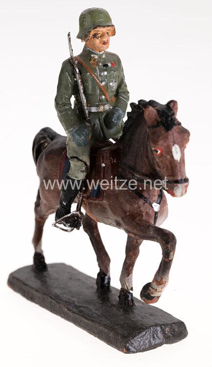 Elastolin - Heer Hauptmann zu Pferd mit Steigbügel auf Schrittpferd