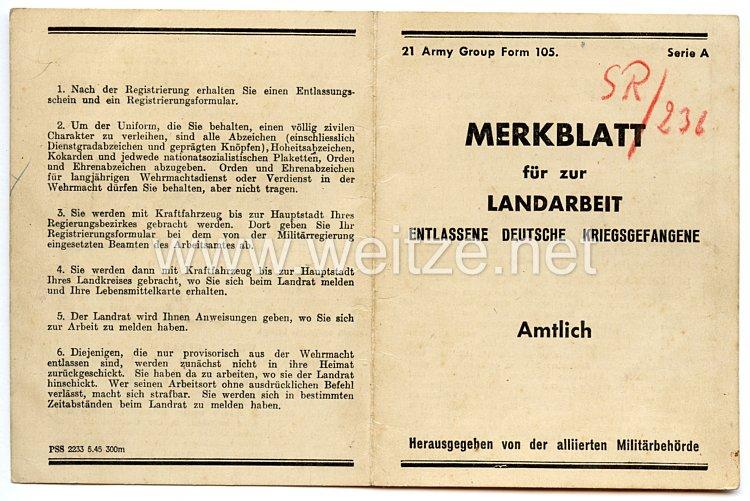 Merkblatt für zur Landarbeit entlassene deutsche Kriegsgefangene
