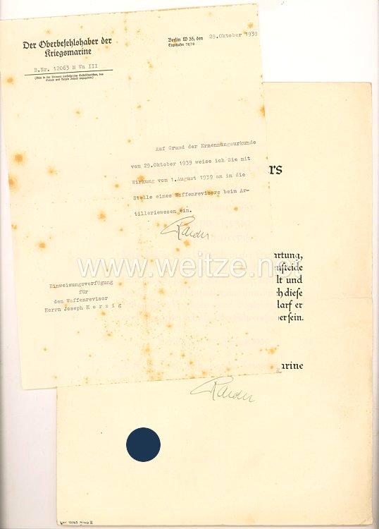 Kriegsmarine - zwei Originalunterschriften von Großadmiral Dr. h.c. Raeder