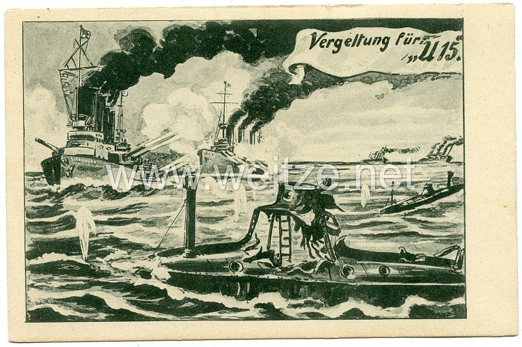 U-Boot-Waffe 1. Weltkrieg - Propaganda-Postkarte