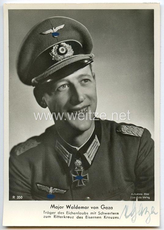 Heer - Originalunterschrift von Ritterkreuzträger Major Waldemar von Gazen gen. Von Gaza