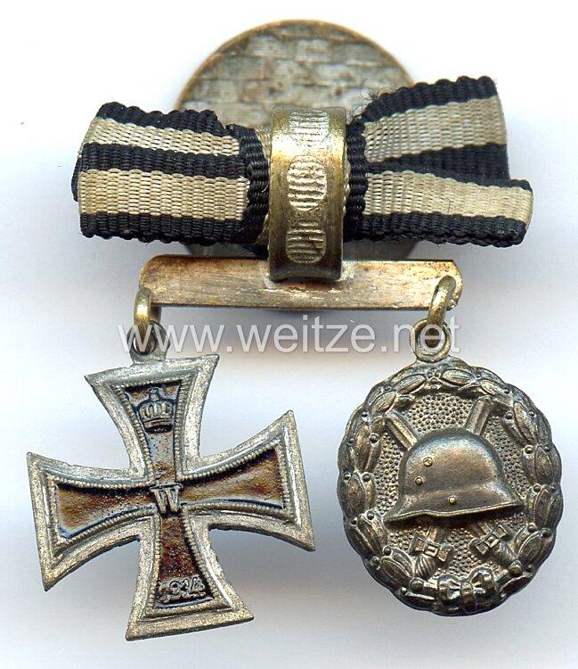 Knopflochdekoration mit 2 Auszeichnungen für einen Frontsoldaten des 1. Weltkrieges