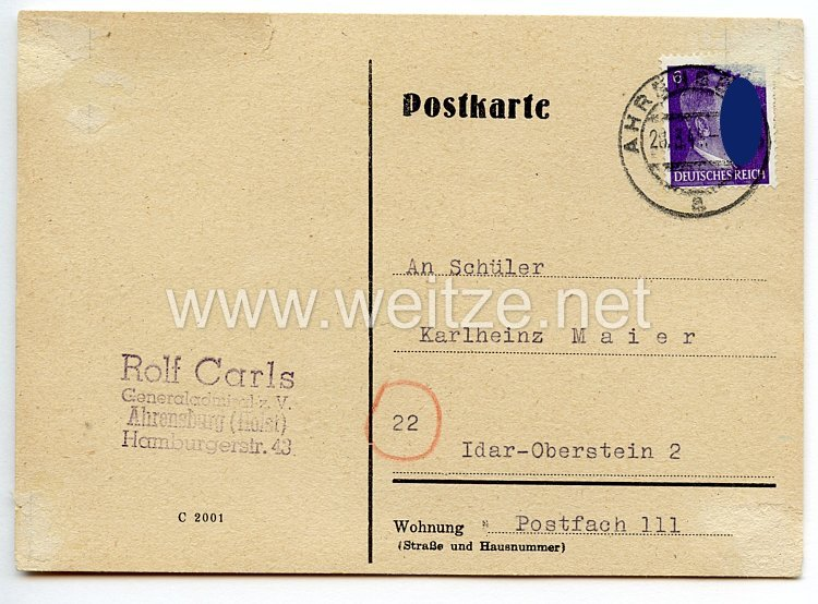 Kriegsmarine - Originalunterschrift von Ritterkreuzträger Generaladmiral Rolf Carls