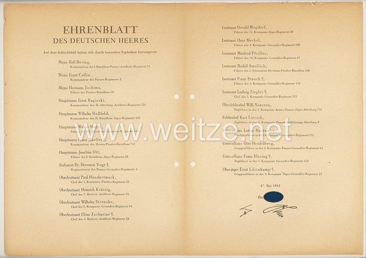 Ehrenblatt des deutschen Heeres - Ausgabe vom 27. Mai 1944