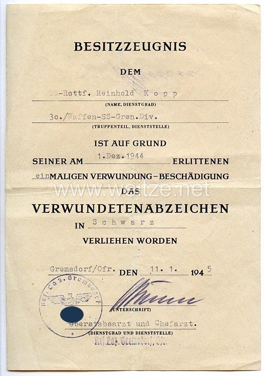 Waffen-SS30. Waffen-Grenadier-Division der SS (russ. Nr. 2) - Verwundetenabzeichen in Schwarz - Besitzzeugnis