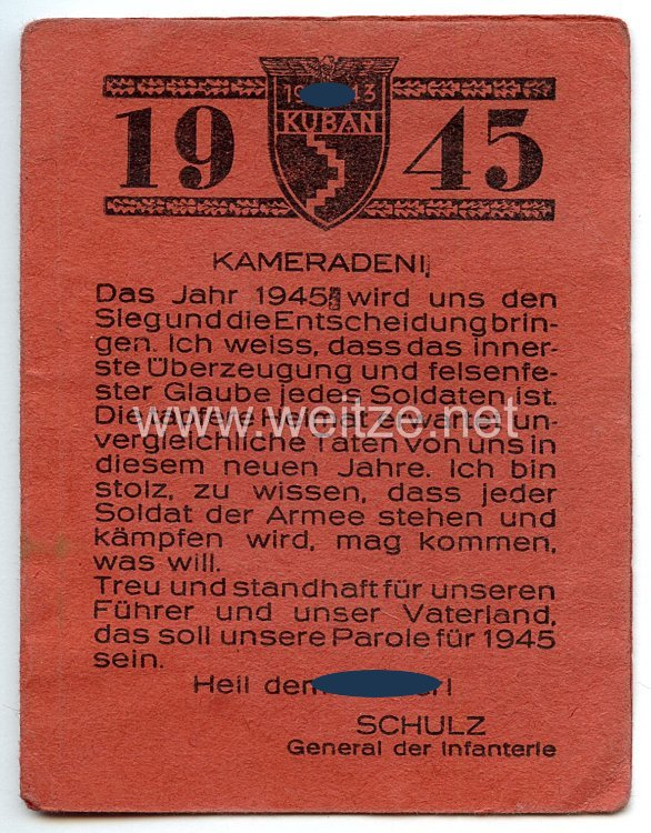 17. Armee Oberbefehlshaber General der Infanterie Friedrich Schulz - Kuban 1945 Kalender