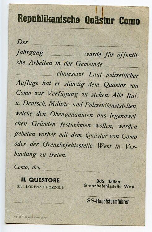 Republikanische Quästur Como ( Italien ) - Bescheinigung