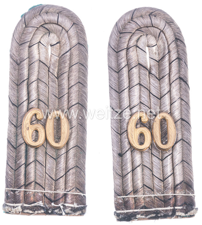 Preußen Paar Schulterstücke für einen Leutnant im Infanterie-Regiment Markgraf Karl (7. Brandenburgisches) Nr. 60