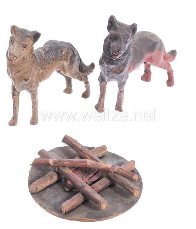 Lineol - 1. Weltkrieg 2 Hunde und 1 Lagerfeuer