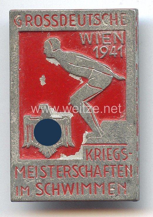 """III. Reich - offizielles Teilnehmerabzeichen """" Grossdeutsche Kriegsmeisterschaften im Schwimmen Wien 1941 """""""