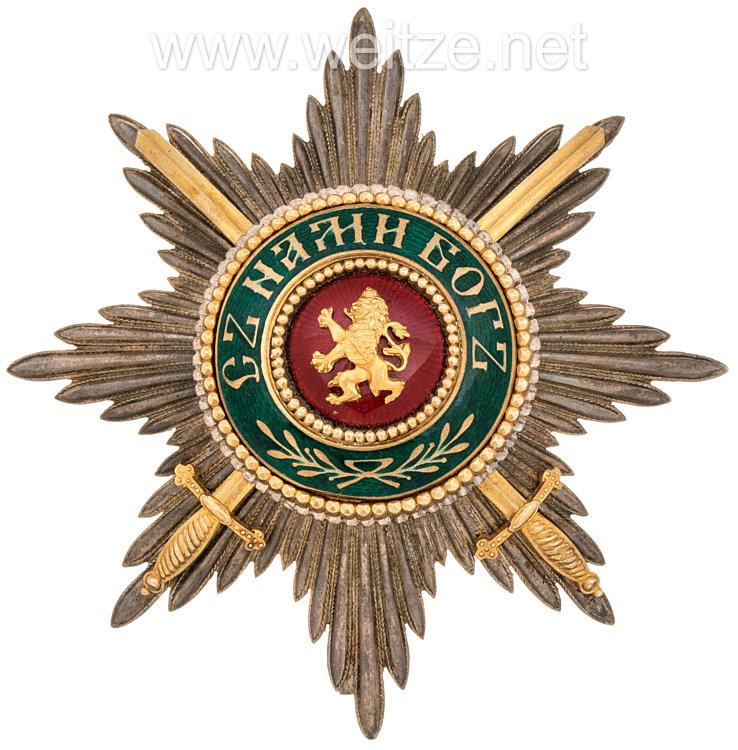 Königreich Bulgarien St. Alexander-Orden Bruststern zur 1. Klasse mit Schwertern