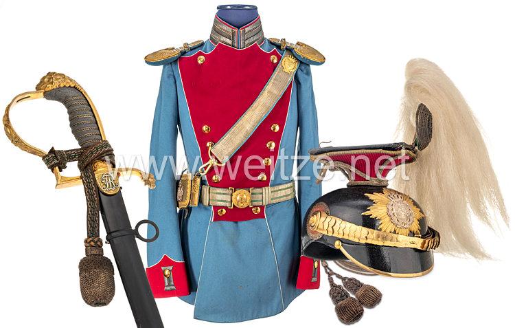 Königreich Sachsen Uniform Ensemble eines Leutnants zur Parade im Königlich Sächsischen 2. Ulanen-Regiment Nr. 18