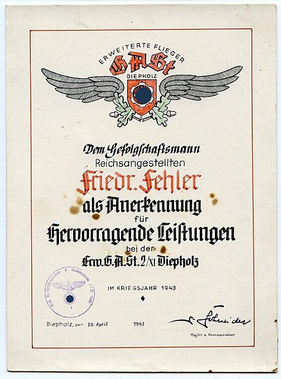 Luftwaffe - Erweiterte Flieger G.A.St. ( Geräteausgabestelle ) Diepholz - Anerkennungsurkunde