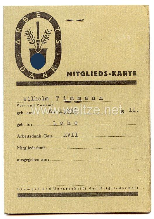 Arbeitsdank Gau 17 (Niedersachsen-Mitte  ) - Mitgliedskarte