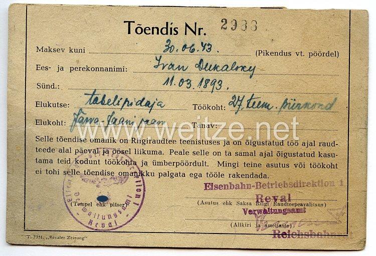 III. Reich / Estland - Eisenbahn-Betriebsdirektion Reval - Ausweis für einen Mann des Jahrgangs 1893 in der Deutschen Reichsbahn