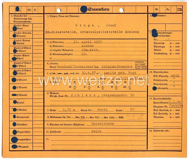 Sicherheitsdienst des Reichsführers SS ( SD )- SS-Stammkarte für einen Kriminalbeamten der SD-Dienststelle Kriminalpolizeistelle Koblenz