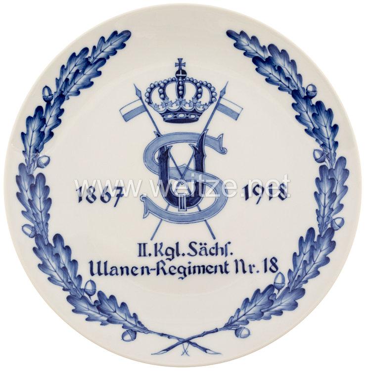 """Ehrenschale aus Meißner Porzellan des """"II. Kgl. Sächsischen Ulanen-Regiment Nr. 18"""""""