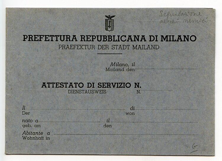 III. Reich - Präfektur der Stadt Mailand ( Italien ) - Dienstausweis