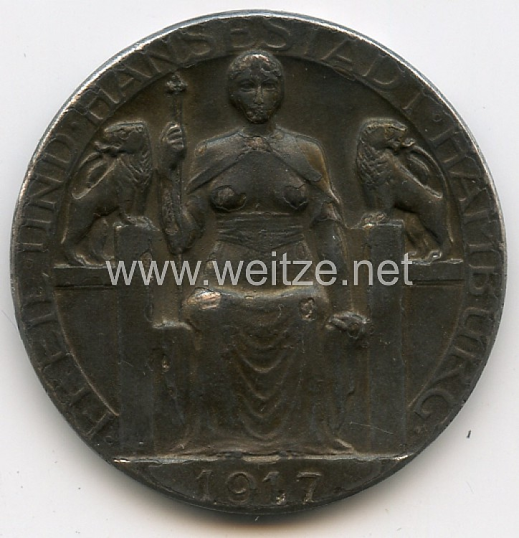 """Hamburg nicht tragbare Medaille """"Zur Erinnerung an die Einweihung des Kaihauses 26. 10. 1897 - Freie und Hansestadt Hamburg 1917"""""""