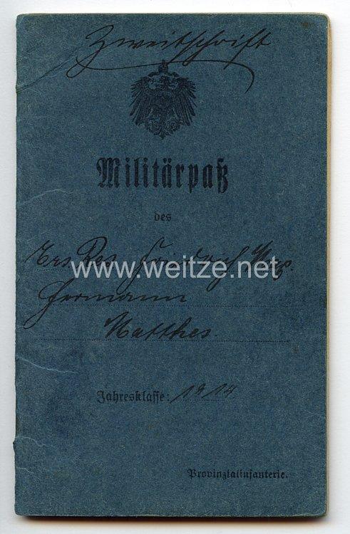 Fliegerei 1. Weltkrieg - Militärpaß für einen späteren Angehörigen der Flieger-Ersatz-Abteilung 4