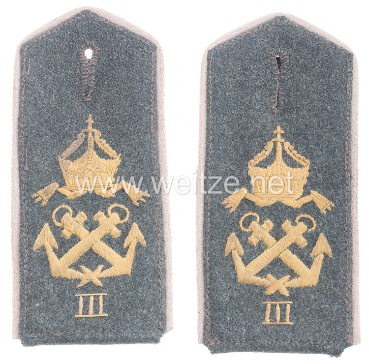 Kaiserliches Seebataillon Paar Schulterklappen feldgrau für Mannschaften des III. See-Ersatzbataillon