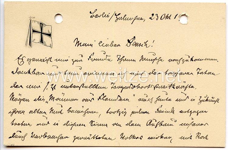 1. Weltkrieg Kaiserliche Marine - Originalunterschrift von Admiral Ludwig v. Schröder auf einer Briefkarte