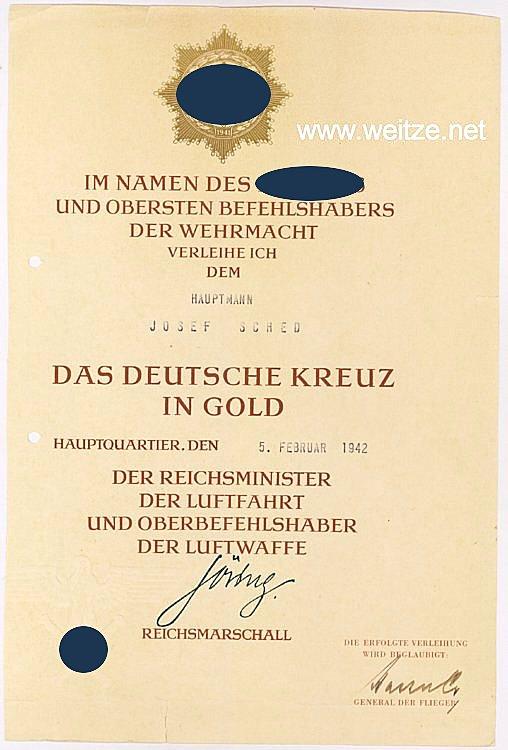 Luftwaffe - Urkundengruppe und Fotoalbum des Deutschen Kreuz in Gold Trägers Hauptmann Josef Sched der 1./Küstenfliegergruppe 506