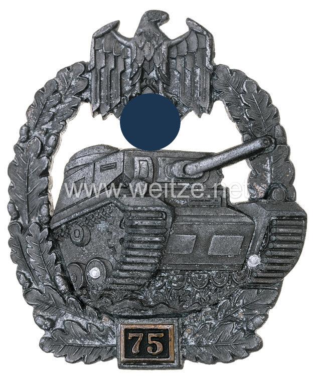 """Panzerkampfabzeichen in Bronze 4. Stufe mit Einsatzzahl """"75"""""""