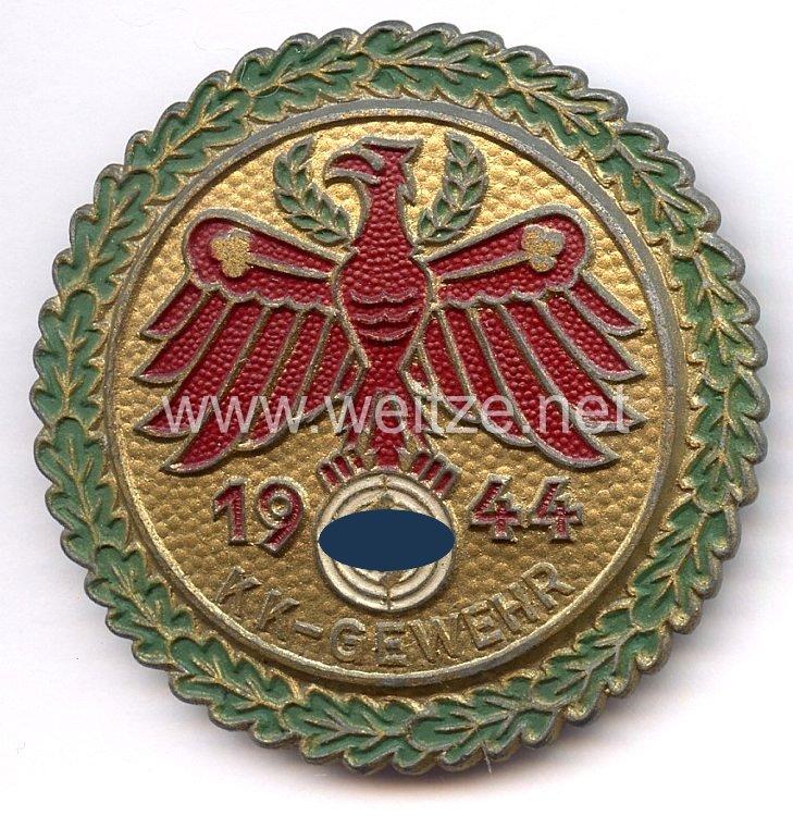 """Standschützenverband Tirol-Vorarlberg -Gaumeisterabzeichen 1944 in Gold mit Eichenlaubkranz """" KK-Gewehr """""""