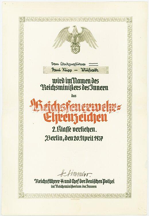 Reichsführer-SS - Reichsfeuerwehr-Ehrenzeichen 2. Klasse - Verleihungsurkunde