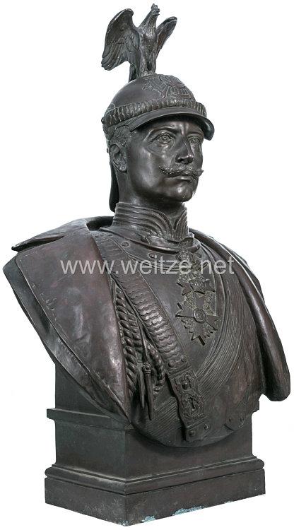 Preußen Große Bronzebüste Kaiser Wilhelms II.aus der Kaserne des Garde-Kürassier-Regiments