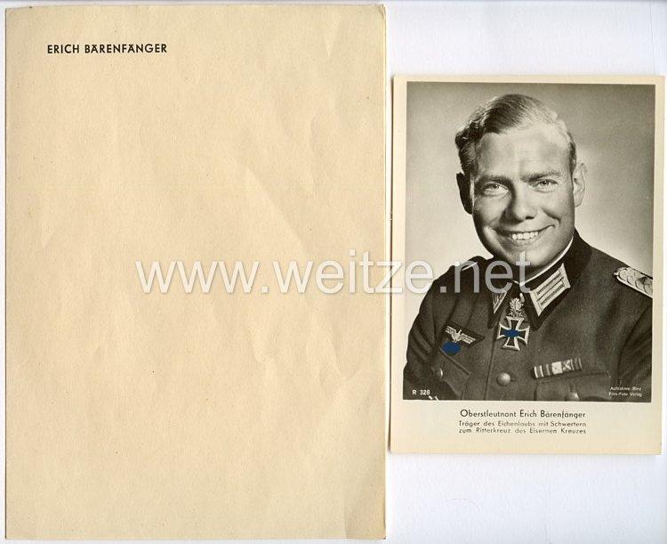 Heer - Briefpapier und Portraitpostkarte von Ritterkreuzträger Major Erich Bärenfänger
