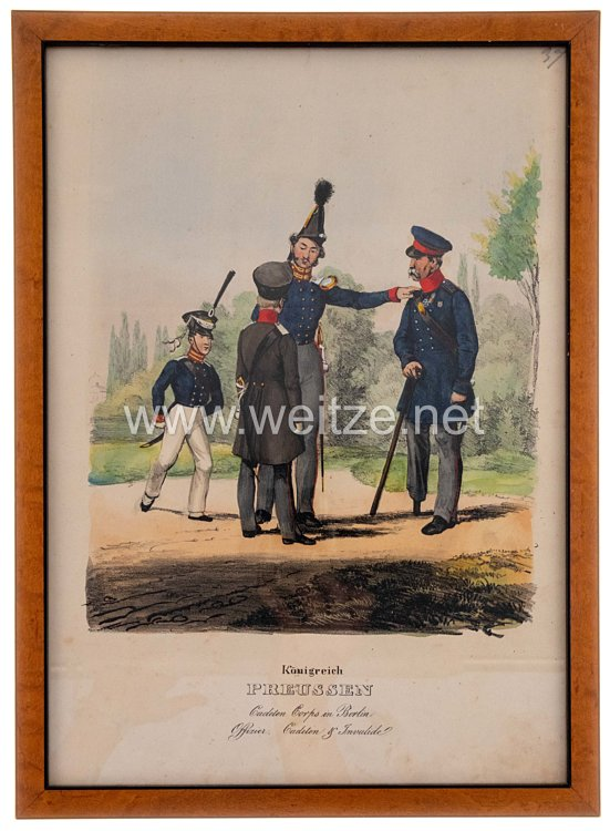 "Preußen gerahmte handkolorierte Lithographie ""Cadeten Corps in Berlin"""
