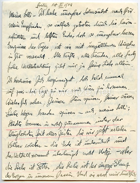 III. Reich - Originalbrief von Dr. Hans Frank - Generalgouverneur für die besetzten polnischen Gebiete - am seine Geliebte Lilli